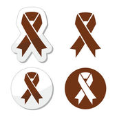 Vector medical symbols - brown awerensess ribbons isoalted on white