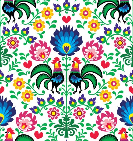 Illustration for Repetitive colorful background - folk art print from Poland - Royalty Free Image