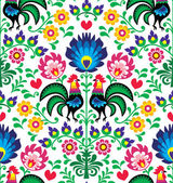 Repetitive colorful background - folk art print from Poland