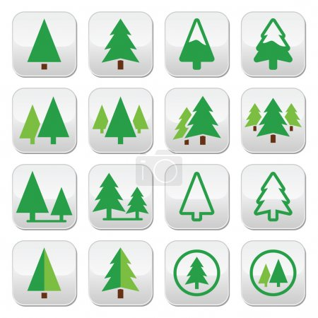 Pine tree, park vector green icons set