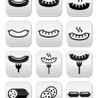 Vector icons set of food - sausages isolated on wh...