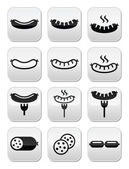 Sausage grilled or with for icons set