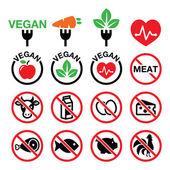 Vegetarián, žádné maso, vegetariánské, laktózy ikony zdarma sada