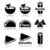 Mexican food icons - tacos nachos burrito quesadilla