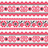 Ethnic seamless pattern from Ukraine in red an grey on white background