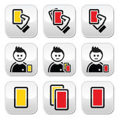 Football or soccer yellow and red card icons set