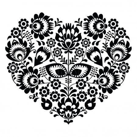 Polish folk art heart pattern in black - wzory lowickie, wycinanka