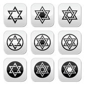 Judaic Jewish religious symbol - David star vector icons set