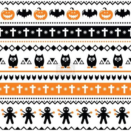 Illustration pour Fond répétitif noir et orange pour Halloween sur fond blanc - image libre de droit