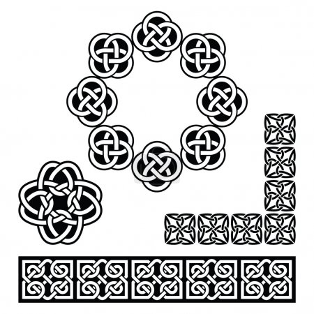 Set old traditional Celtic symbols in black isolat...