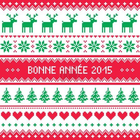 Illustration pour Fond rouge et vert pour célébrer le Nouvel An - style tricot nordique - image libre de droit