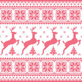 Winter Christmas red seamless pixelated pattern with deer with trees