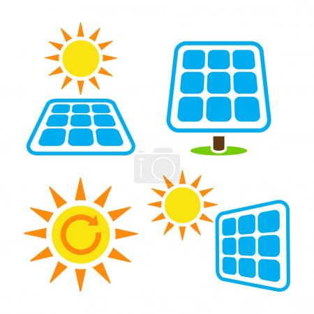 Illustration pour Ensemble d'icônes vectorielles de l'écologie, concept vert - panneaux solaires isoaltés sur blanc - image libre de droit