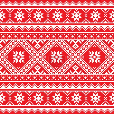 Ukrainian, Slavic folk art knitted red and white embroidery pattern