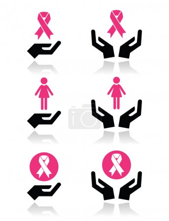 Illustration for Health campaign - breast cancer ribbons set with hands isolated on white - Royalty Free Image