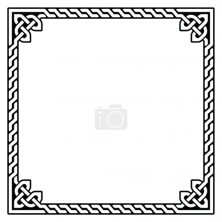 Irish, Celtic black square pattern isolated on whi...