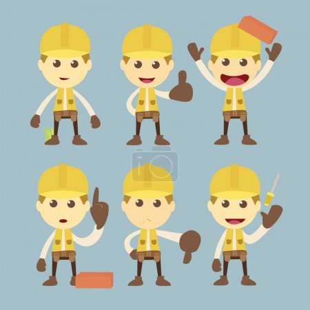 Photo for Industrial Construction Worker character set cartoon - Royalty Free Image