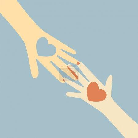 Photo pour Main donnant coeur d'amour - image libre de droit