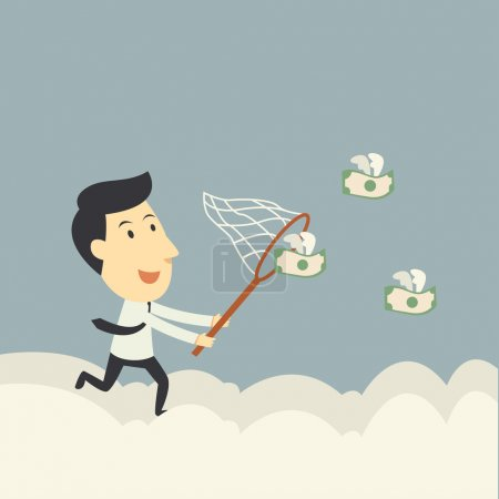 Businessman trying to catch money fly illustration...