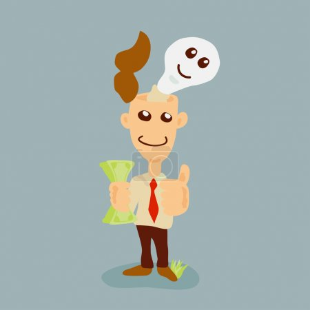 Illustration for Businessman have idea on head - Royalty Free Image