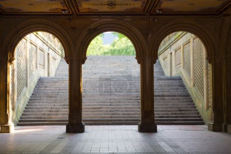 Photo for Three arches leading to the steps towards the Bethesda Terrace in Central Park, Manhattan, New York - Royalty Free Image