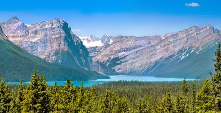 Beautiful landscape with Rocky Mountains and mountain lake in Alberta, Canada