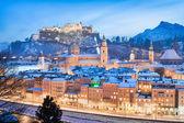 Historic city of Salzburg with Festung Hohensalzburg in winter, Salzburger Land, Austria