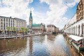 Beautiful view of the city center of Hamburg, Germany.
