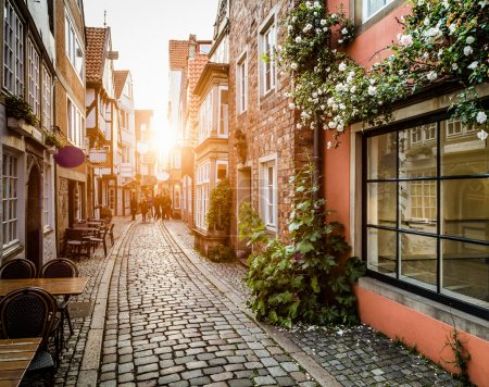 Photo for Historic Schnoorviertel at sunset in Bremen, Germany. - Royalty Free Image