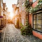 Historic Schnoorviertel at sunset in Bremen, Germa...
