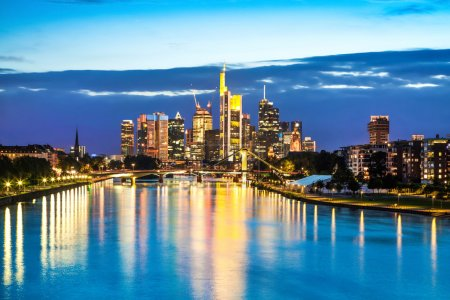 Photo for Beautiful view of Frankfurt am Main skyline at dusk, Germany. - Royalty Free Image