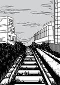 Black and white railway Vector illustration