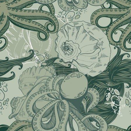 Photo pour Modèle sans couture avec pieuvres, moules et algues - image libre de droit