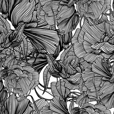 Illustration for Seamless monochrome vector pattern from iron mechanical flowers - Royalty Free Image
