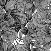 Seamless monochrome vector pattern from iron mechanical flowers