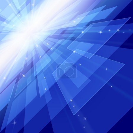 Photo for Abstract outer space perspective with rays and stars - Royalty Free Image