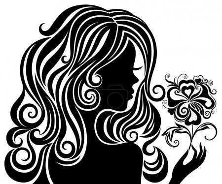 Illustration pour Silhouette noire et blanche d'une fille aux cheveux et fleurs luxueux - image libre de droit