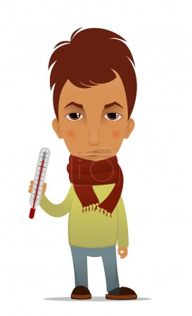 Cartoon ill guy with a thermometer