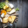 Various types of cheese with empty space backgroun...