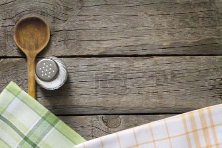 Abstract food background on vintage boards with wooden spoon