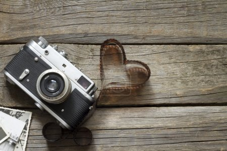 Photo for Old retro camera with heart love photography creative concept - Royalty Free Image