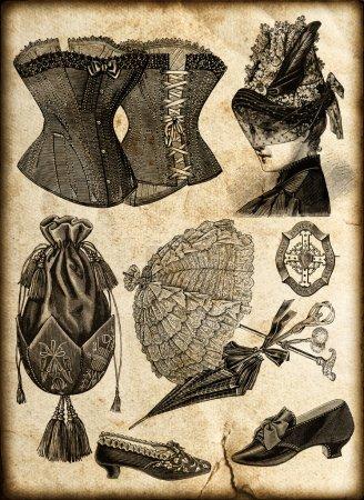 Accessoires de mode vintage pour dame en 1885