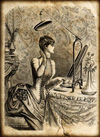 Photo pour Jeune femme élégante en robe corsage magnifique miroir en regardant. Vintage illustration gravée. la illustree de mode 1885, france, paris - image libre de droit