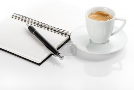 Photo for Cup of black coffee and open note book - Royalty Free Image