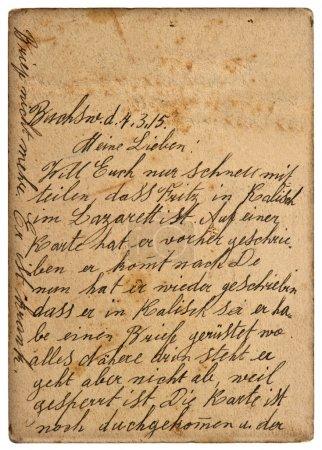 Photo pour Ancienne lettre manuscrite personnelle de 1915. arrière-plan vintage - image libre de droit