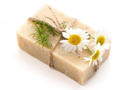 Photo pour Gros plan de la barre de savon avec des fleurs de camomille douce isolé sur fond blanc - image libre de droit