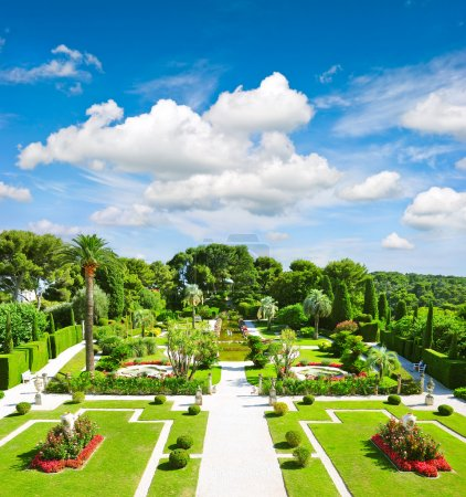 Beautiful mediterranean garden on the french riviera