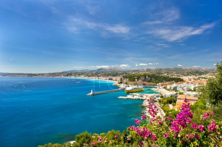 Photo for Panoramic view of mediterranean resort, Nice, Cote d'Azur, France. - Royalty Free Image