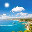 Turquoise sea and perfect sunny blue sky. View of ...