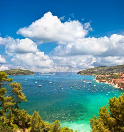 view of luxury resort and bay of Cote d'Azur